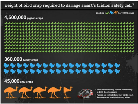 Weight of bird crap to damage smart's tridion safety cell