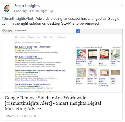 Facebook Reactions - Google Adwords Sidebar