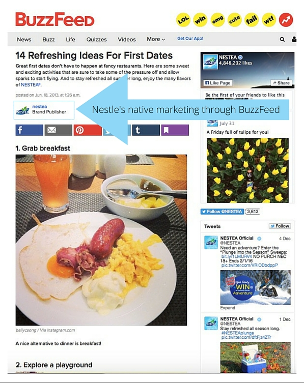 BuzzFeed's and Nestle native marketing