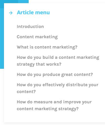 Brand chemistry's Pillar Page's Article Menu