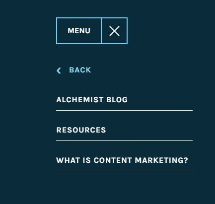 Brand chemistry's Pillar Page - Insights Menu