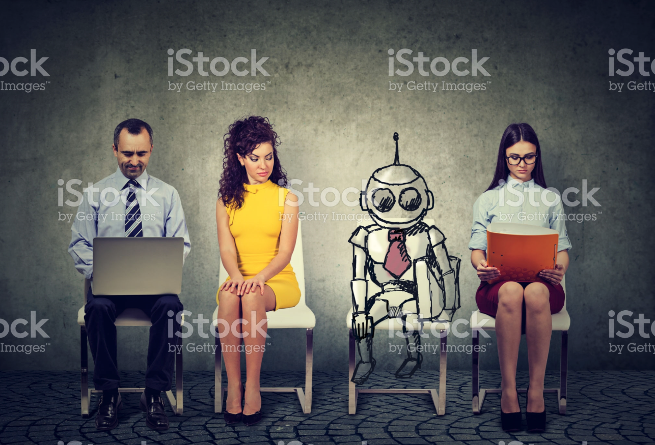 funny istock photo job interview AI robot