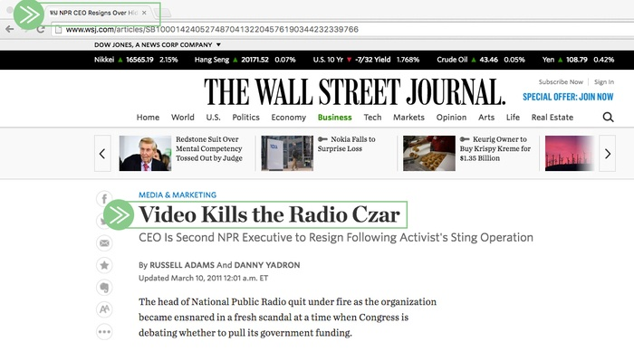Wall Street Journal headline