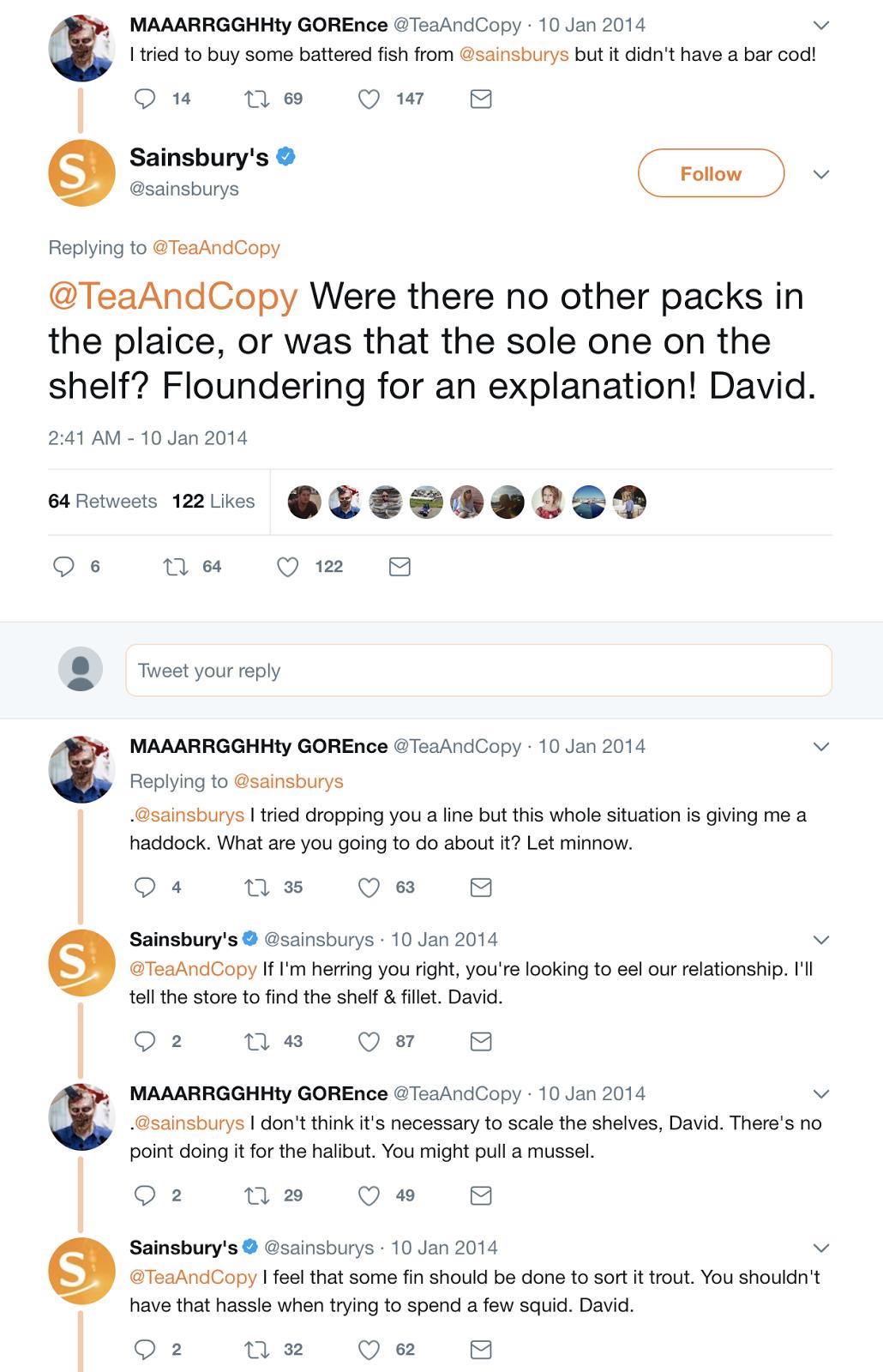 Sainsbury pun-tastic social media exchange