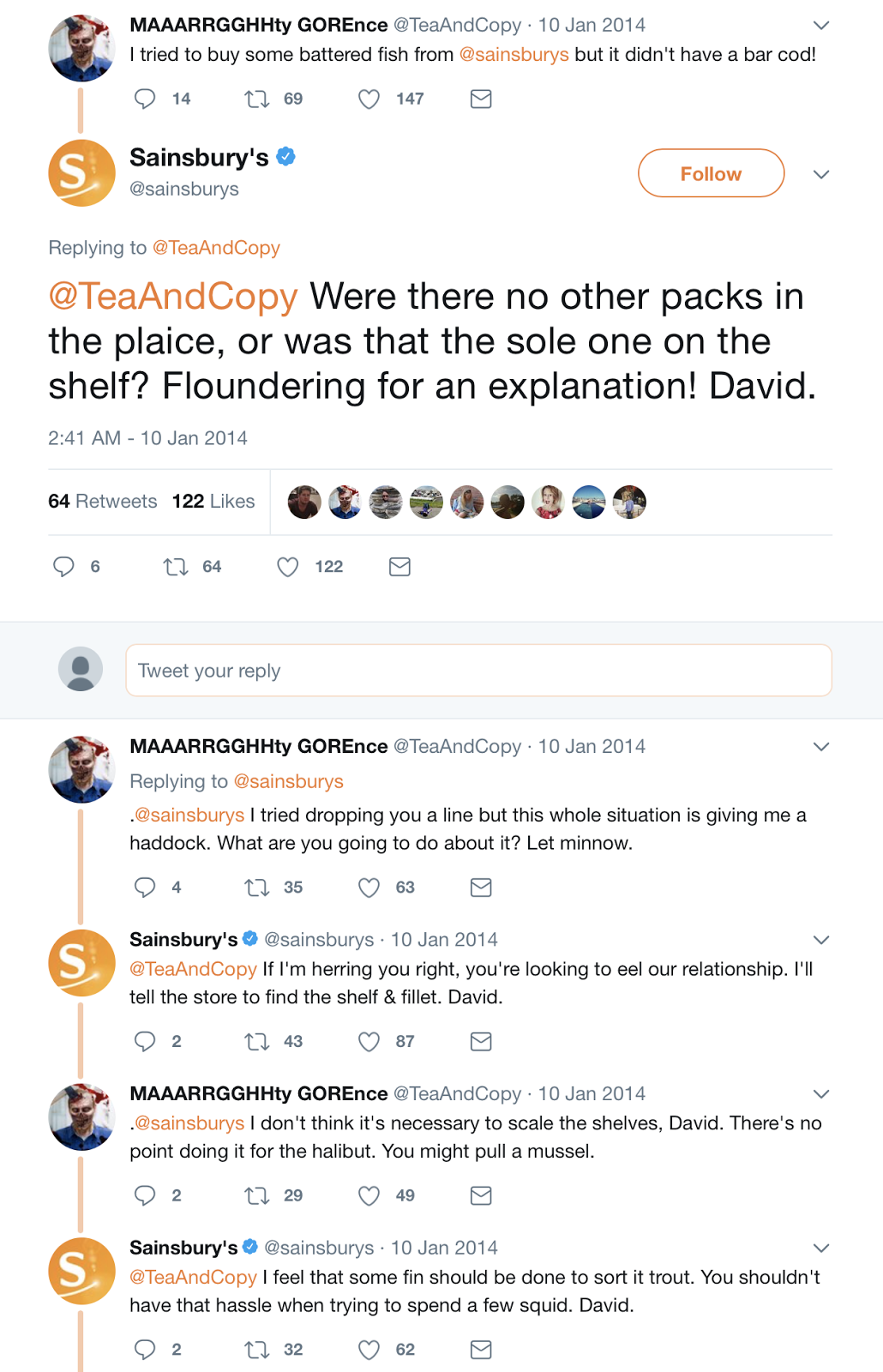 Sainsbury pun-tastic social media exchange