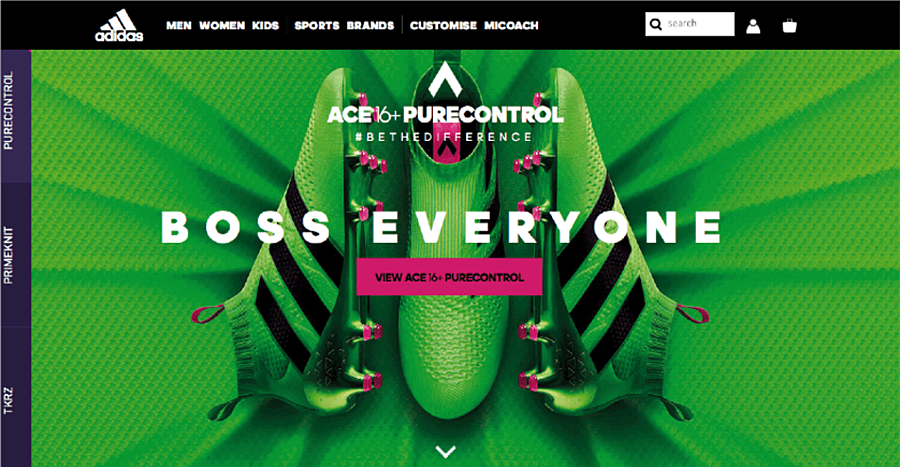 Adidas draws attention to its CTA using complementary colours