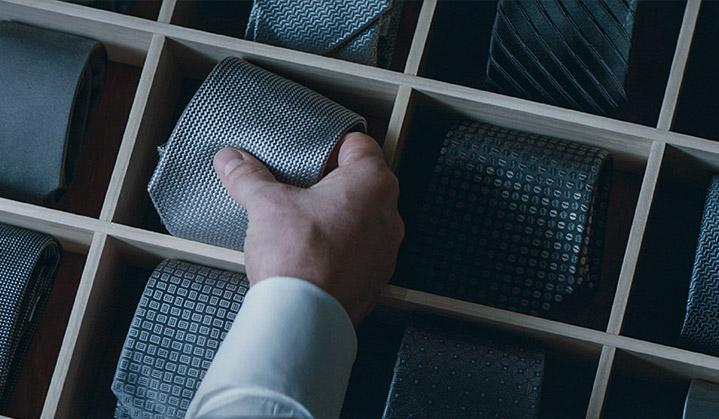 Grey tie drawer
