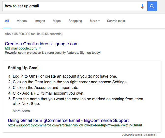 This is how to get into Google's answers box