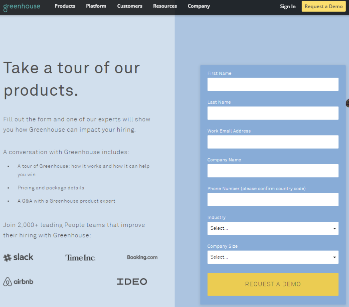 landing page example two