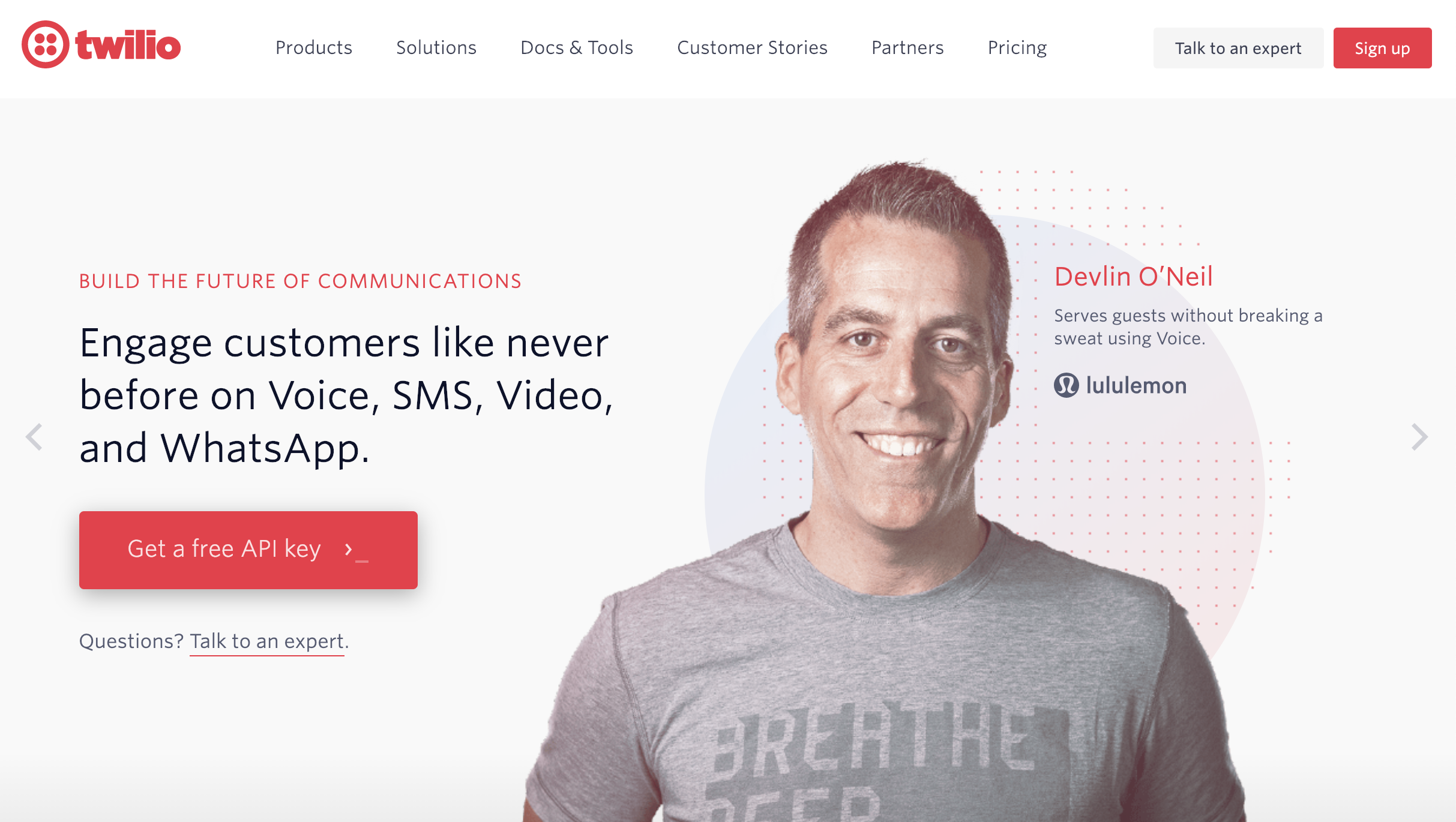 twilio website homepage